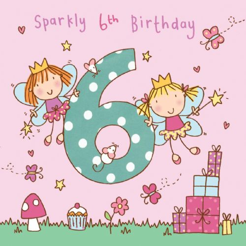 Age 6 Girls Twinkly Birthday Card